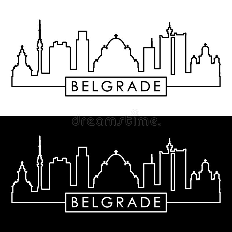 Ορίζοντας Βελιγραδι'ου γραμμικό ύφος Διανυσματικό αρχείο Editable ελεύθερη απεικόνιση δικαιώματος