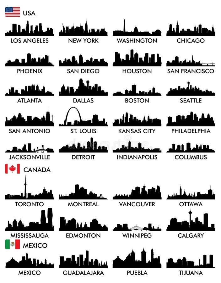 Ορίζοντας Βόρεια Αμερική πόλεων απεικόνιση αποθεμάτων