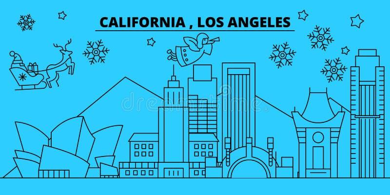 Ορίζοντας διακοπών Ηνωμένου, Λος Άντζελες χειμώνα Χαρούμενα Χριστούγεννα, διακοσμημένο καλή χρονιά έμβλημα με Άγιο Βασίλη διανυσματική απεικόνιση