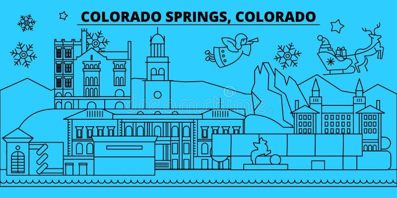 Ορίζοντας διακοπών Ηνωμένου, Colorado Springs χειμώνα Χαρούμενα Χριστούγεννα, καλή χρονιά με Άγιο Βασίλη Ενωμένο κράτος απεικόνιση αποθεμάτων
