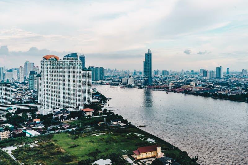 Ορίζοντας εικονικής παράστασης πόλης της Μπανγκόκ όπως βλέπω? άνωθεν εναέρια άποψη photogr στοκ φωτογραφία με δικαίωμα ελεύθερης χρήσης