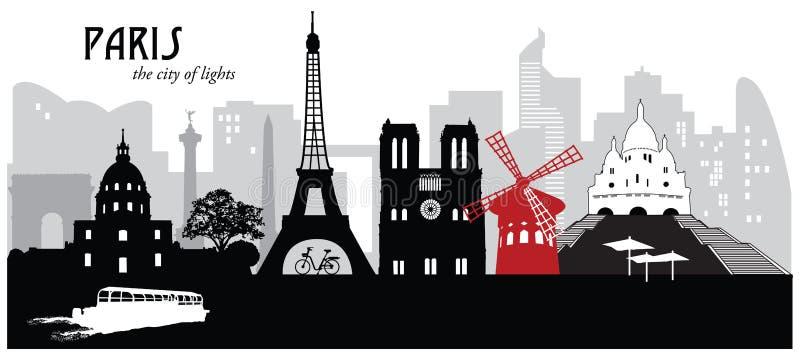 Ορίζοντας εικονικής παράστασης πόλης του Παρισιού διανυσματική απεικόνιση