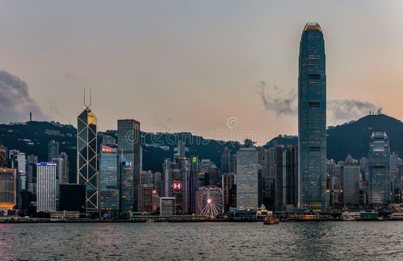 Ορίζοντας ηλιοβασιλέματος του Χονγκ Κονγκ στοκ εικόνα