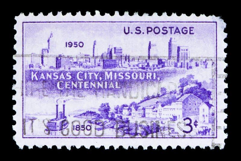 Ορίζοντας, 1950 και Westport πόλεων του Κάνσας που προσγειώνονται, 1850, serie, cir στοκ εικόνες
