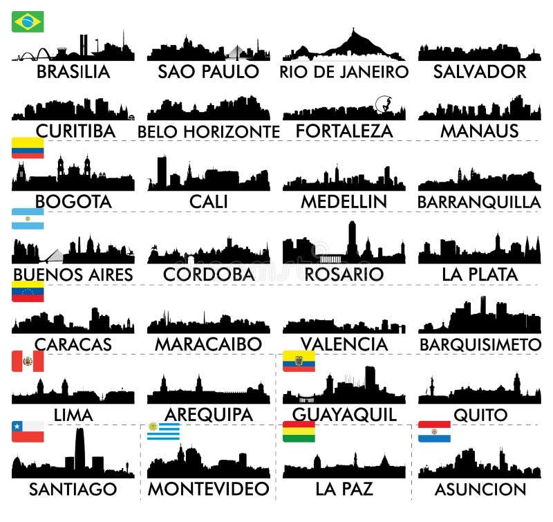 Ορίζοντας Νότια Αμερική πόλεων ελεύθερη απεικόνιση δικαιώματος