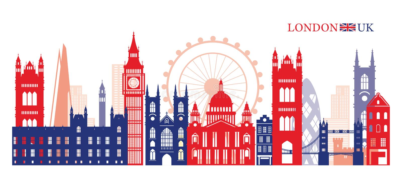 Ορίζοντας ορόσημων του Λονδίνου, της Αγγλίας και του Ηνωμένου Βασιλείου ελεύθερη απεικόνιση δικαιώματος