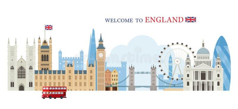 Ορίζοντας ορόσημων του Λονδίνου, της Αγγλίας και του Ηνωμένου Βασιλείου απεικόνιση αποθεμάτων