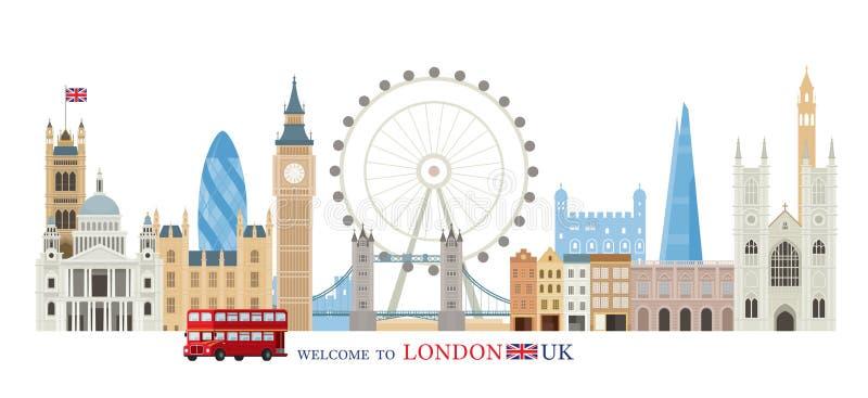 Ορίζοντας ορόσημων του Λονδίνου, της Αγγλίας και του Ηνωμένου Βασιλείου διανυσματική απεικόνιση