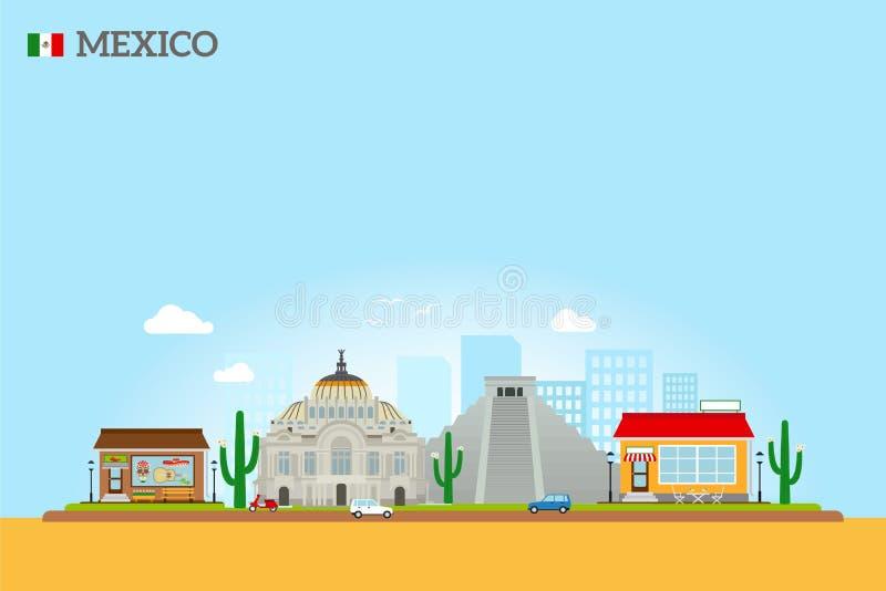 Ορίζοντας ορόσημων του Μεξικού απεικόνιση αποθεμάτων