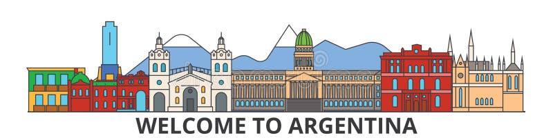 Ορίζοντας περιλήψεων της Αργεντινής, αργεντινά επίπεδα λεπτά εικονίδια γραμμών, ορόσημα, απεικονίσεις Εικονική παράσταση πόλης τη ελεύθερη απεικόνιση δικαιώματος