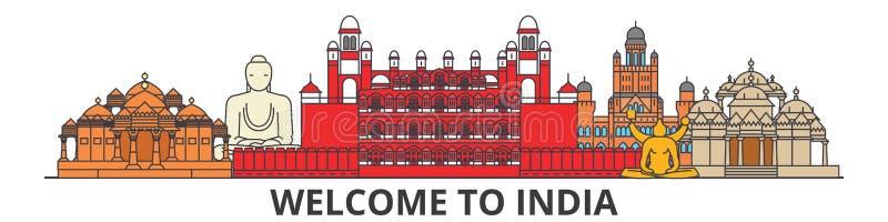 Ορίζοντας περιλήψεων της Ινδίας, ινδικά επίπεδα λεπτά εικονίδια γραμμών, ορόσημα, απεικονίσεις Εικονική παράσταση πόλης της Ινδία διανυσματική απεικόνιση