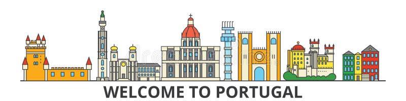 Ορίζοντας περιλήψεων της Πορτογαλίας, πορτογαλικά επίπεδα λεπτά εικονίδια γραμμών, ορόσημα, απεικονίσεις Εικονική παράσταση πόλης απεικόνιση αποθεμάτων