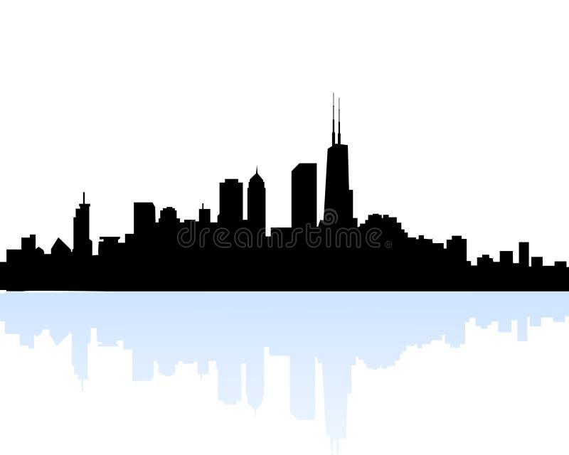 Ορίζοντας πρωινού του Σικάγου απεικόνιση αποθεμάτων