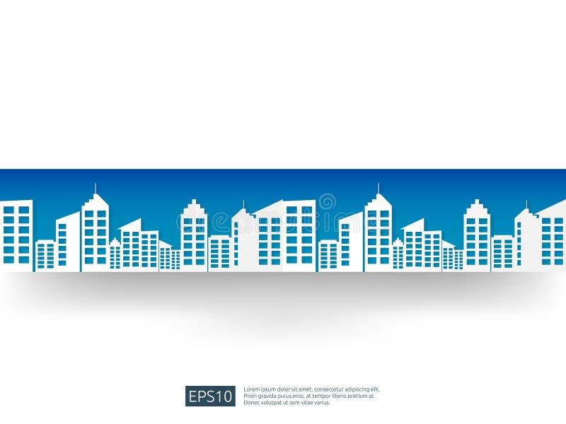 ορίζοντας πόλεων με το τοπίο μπλε ουρανού υπόβαθρο επιχειρησιακών αστικό ουρανοξυστών επίπεδο ύφος τέχνης εγγράφου οικοδόμησης ει απεικόνιση αποθεμάτων