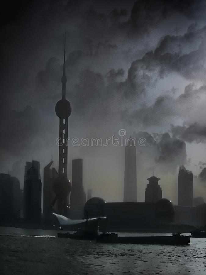 Ορίζοντας πόλεων στη Σαγγάη Κίνα στοκ εικόνες