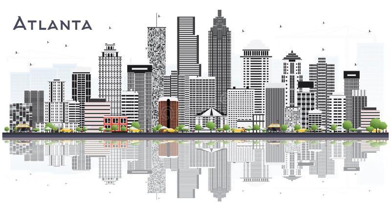 Ορίζοντας πόλεων της Ατλάντας Γεωργία ΗΠΑ τα γκρίζα κτήρια που απομονώνονται με στο λευκό απεικόνιση αποθεμάτων