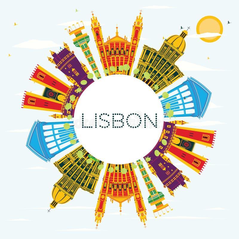 Ορίζοντας πόλεων της Λισσαβώνας Πορτογαλία με τα κτήρια χρώματος, μπλε ουρανός και διανυσματική απεικόνιση