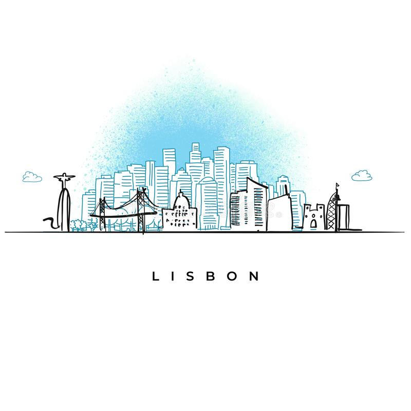 Ορίζοντας πόλεων της Λισσαβώνας, Πορτογαλία διανυσματική απεικόνιση