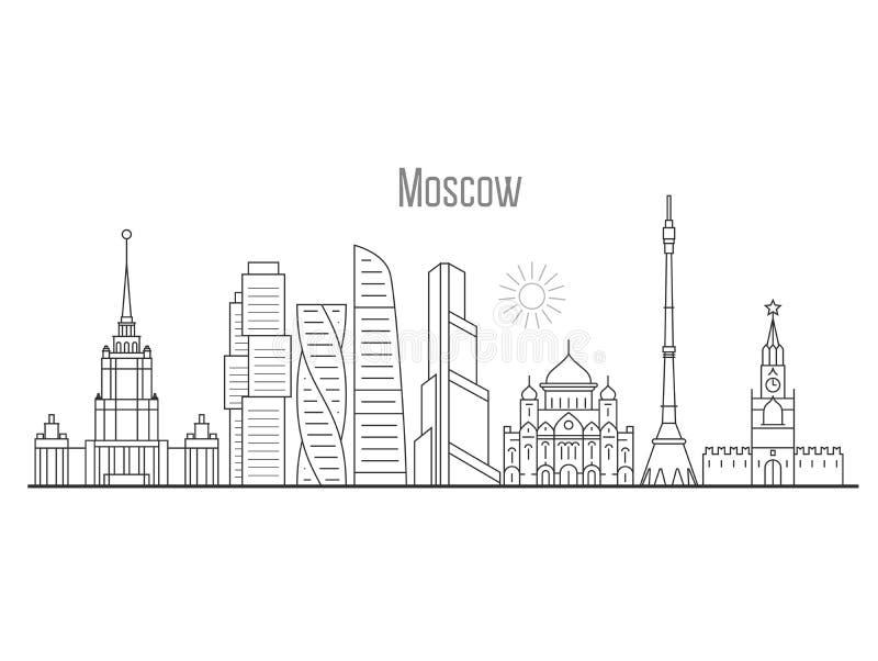 Ορίζοντας πόλεων της Μόσχας - εικονική παράσταση πόλης πύργων και ορόσημων απεικόνιση αποθεμάτων