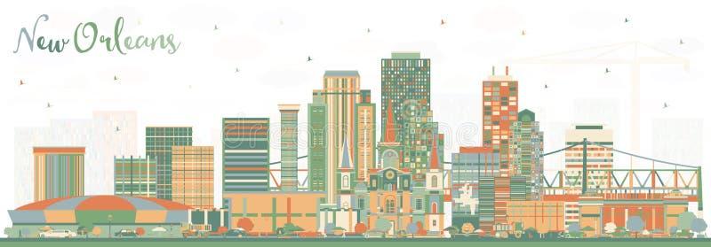 Ορίζοντας πόλεων της Νέας Ορλεάνης Λουιζιάνα με τα κτήρια χρώματος ελεύθερη απεικόνιση δικαιώματος