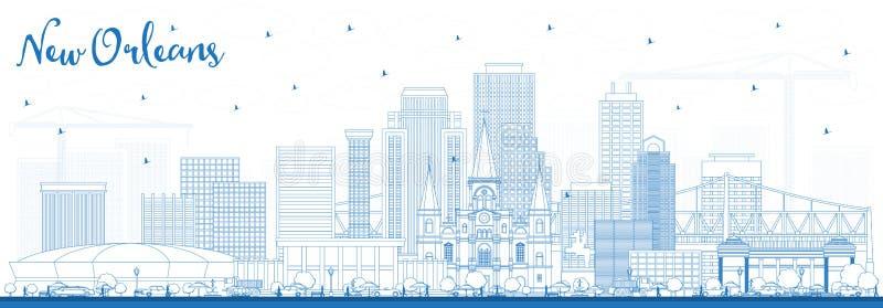 Ορίζοντας πόλεων της Νέας Ορλεάνης Λουιζιάνα περιλήψεων με τα μπλε κτήρια διανυσματική απεικόνιση