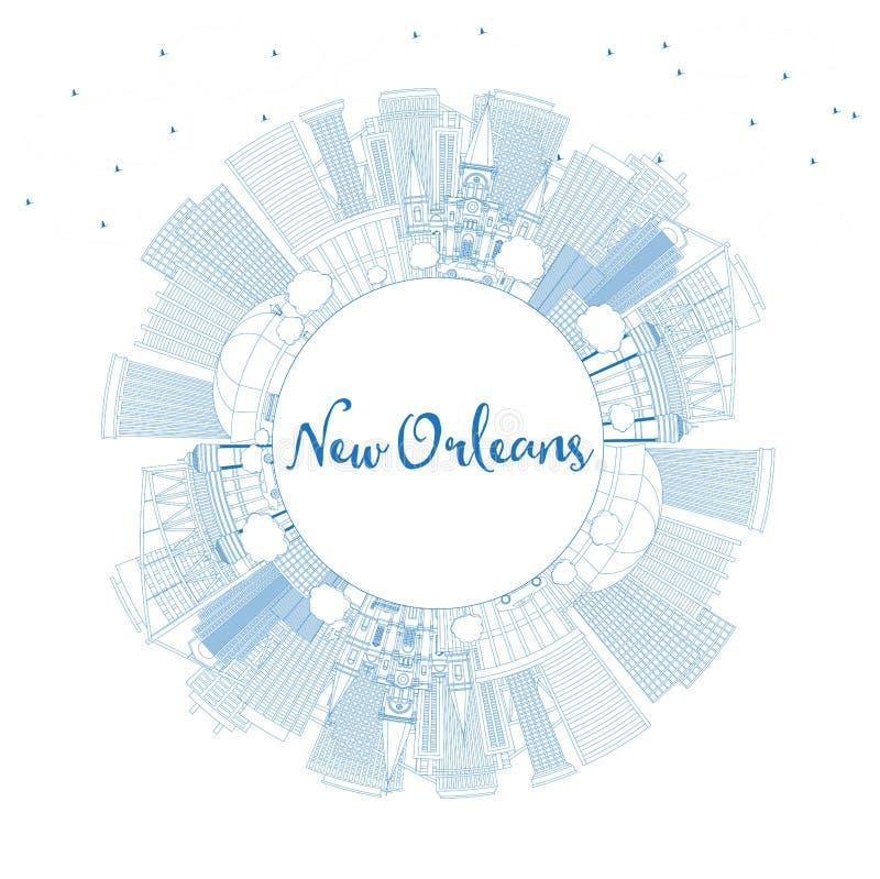 Ορίζοντας πόλεων της Νέας Ορλεάνης Λουιζιάνα περιλήψεων με τα μπλε κτήρια και το διάστημα αντιγράφων ελεύθερη απεικόνιση δικαιώματος