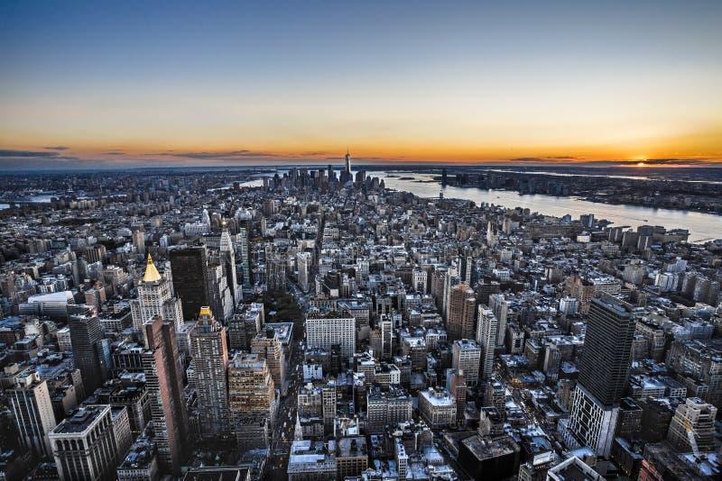 Ορίζοντας πόλεων της Νέας Υόρκης από το Εmpire State Building στοκ φωτογραφία με δικαίωμα ελεύθερης χρήσης