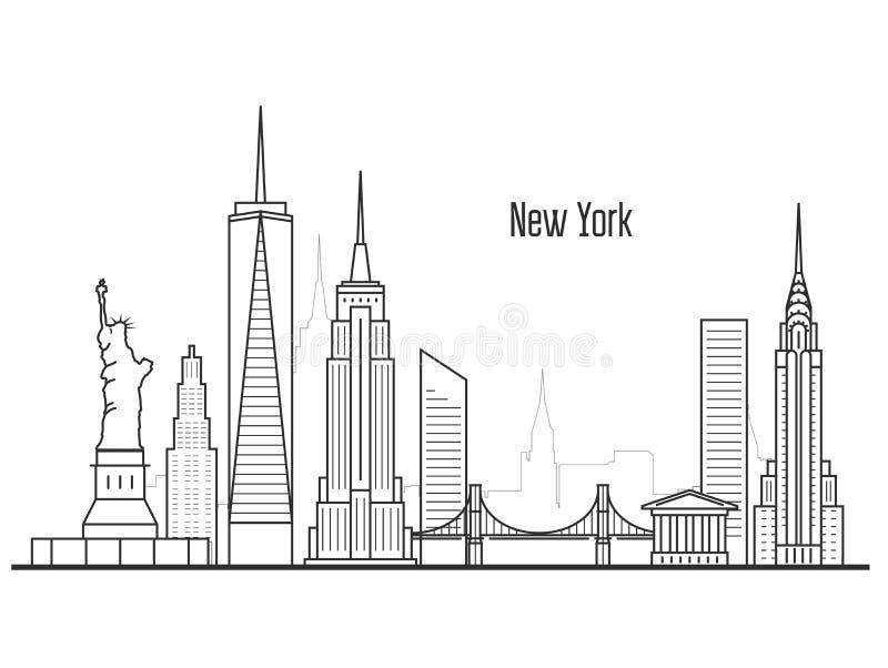 Ορίζοντας πόλεων της Νέας Υόρκης - εικονική παράσταση πόλης και ορόσημο Manhatten διανυσματική απεικόνιση
