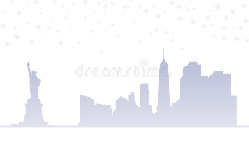 Ορίζοντας πόλεων της Νέας Υόρκης με τις χιονοπτώσεις απομονωμένη ωθώντας s κουμπιών γυναίκα έναρξης χεριών απεικόνιση ελεύθερη απεικόνιση δικαιώματος