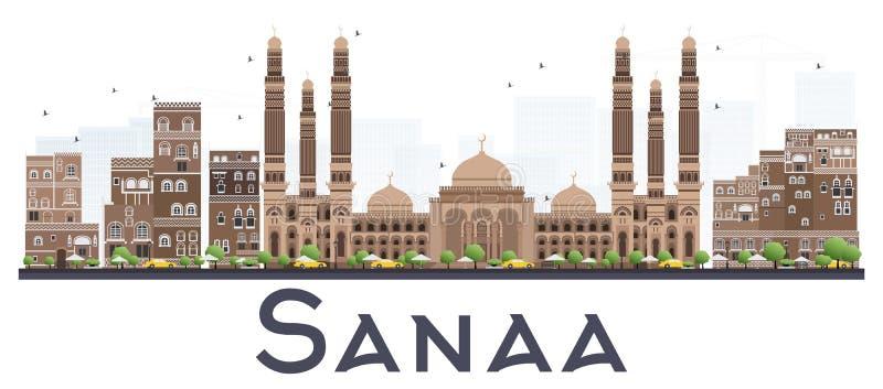 Ορίζοντας πόλεων της Υεμένης Sanaa με τα κτήρια χρώματος που απομονώνονται στο λευκό διανυσματική απεικόνιση