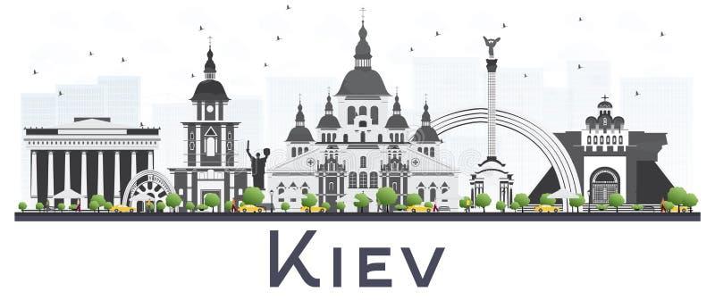 Ορίζοντας πόλεων του Κίεβου Ουκρανία τα γκρίζα κτήρια που απομονώνονται με στο λευκό ελεύθερη απεικόνιση δικαιώματος