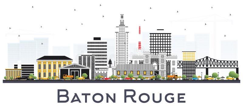 Ορίζοντας πόλεων του Μπάτον Ρουζ Λουιζιάνα με τα κτήρια χρώματος που απομονώνονται απεικόνιση αποθεμάτων