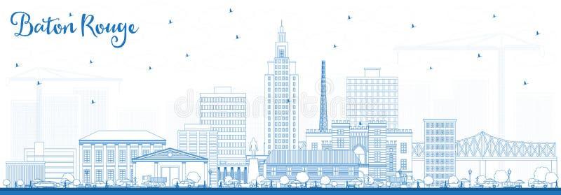 Ορίζοντας πόλεων του Μπάτον Ρουζ Λουιζιάνα περιλήψεων με τα μπλε κτήρια απεικόνιση αποθεμάτων