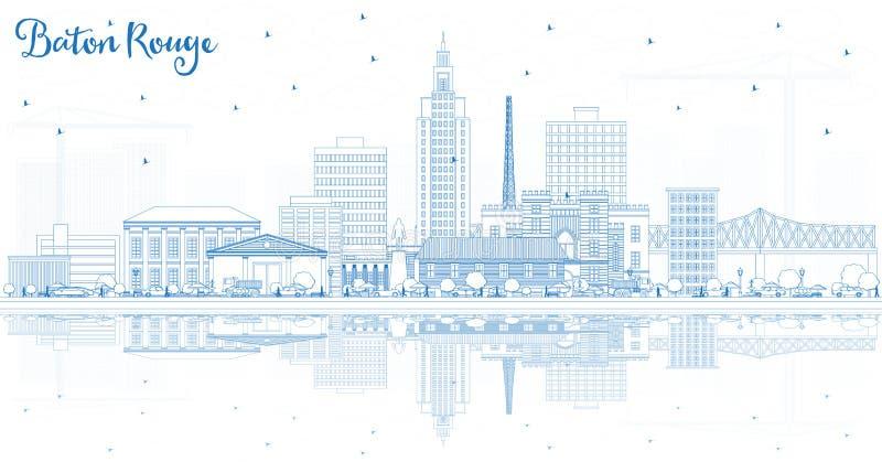 Ορίζοντας πόλεων του Μπάτον Ρουζ Λουιζιάνα περιλήψεων με τα μπλε κτήρια α ελεύθερη απεικόνιση δικαιώματος