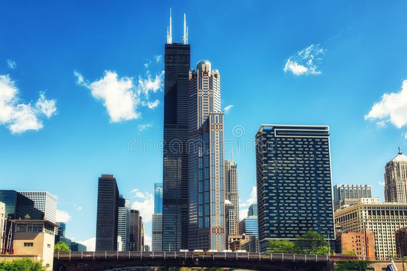 Ορίζοντας πόλεων του Σικάγου με τον πύργο Willis στοκ φωτογραφία με δικαίωμα ελεύθερης χρήσης