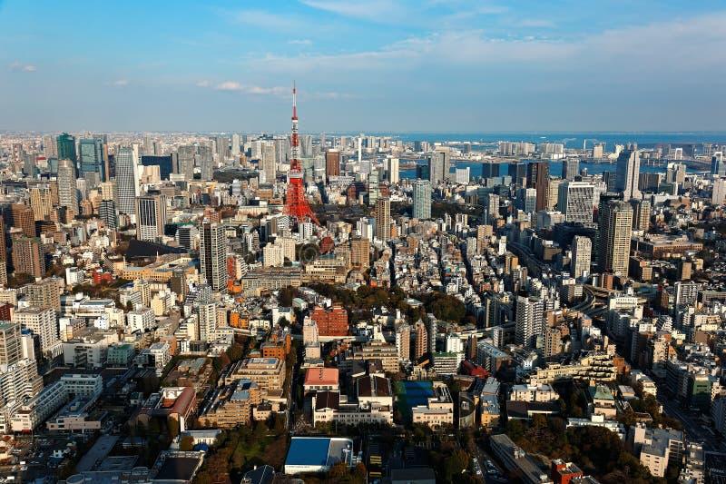 Ορίζοντας πόλεων του στο κέντρο της πόλης Τόκιο μια όμορφη ηλιόλουστη ημέρα, με το διάσημο πύργο του Τόκιο ορόσημων στοκ εικόνα