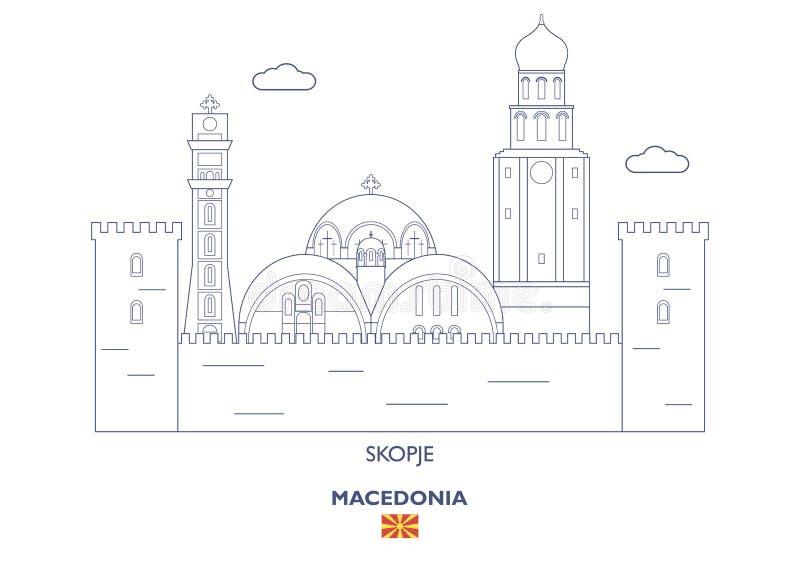 Ορίζοντας πόλεων των Σκόπια, Μακεδονία ελεύθερη απεικόνιση δικαιώματος