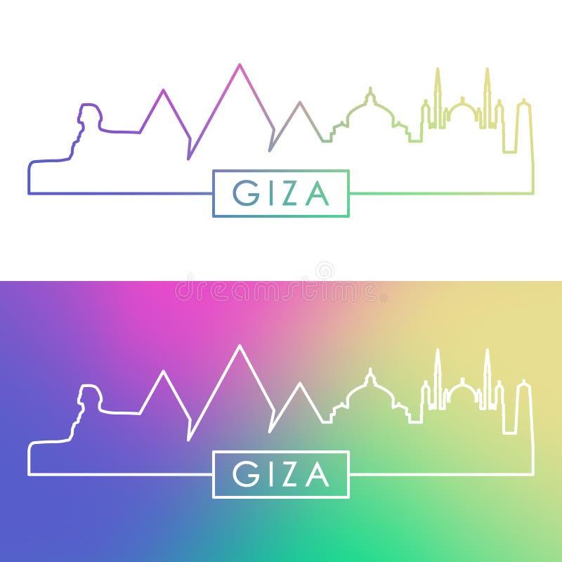 Ορίζοντας πόλεων Giza Ζωηρόχρωμο γραμμικό ύφος διανυσματική απεικόνιση