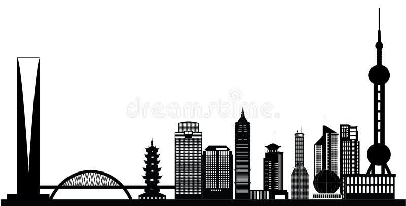 Ορίζοντας πόλεων της Σαγκάη Κίνα διανυσματική απεικόνιση