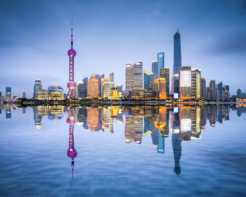 Ορίζοντας πόλεων της Σαγκάη, Κίνα στοκ φωτογραφία