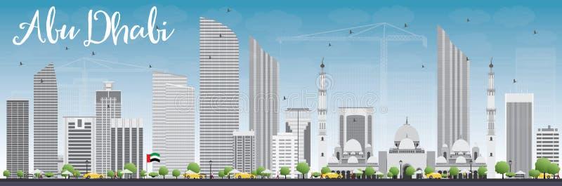 Ορίζοντας πόλεων του Αμπού Ντάμπι με τα γκρίζους κτήρια και το μπλε ουρανό ελεύθερη απεικόνιση δικαιώματος