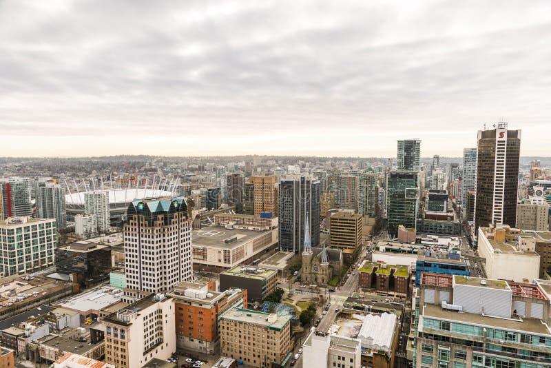 Ορίζοντας πόλεων του Βανκούβερ από την υψηλή άποψη στοκ φωτογραφία με δικαίωμα ελεύθερης χρήσης