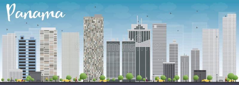 Ορίζοντας πόλεων του Παναμά με τους γκρίζους ουρανοξύστες και το μπλε ουρανό ελεύθερη απεικόνιση δικαιώματος