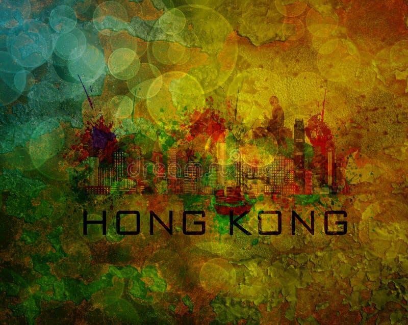 Ορίζοντας πόλεων Χονγκ Κονγκ στην απεικόνιση υποβάθρου Grunge απεικόνιση αποθεμάτων