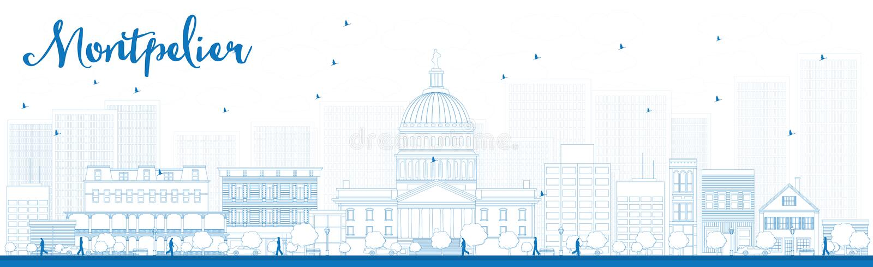 Ορίζοντας πόλεων Montpelier περιλήψεων (Βερμόντ) με τα μπλε κτήρια απεικόνιση αποθεμάτων