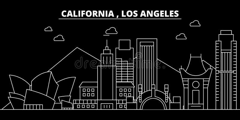ορίζοντας σκιαγραφιών τη&s ΗΠΑ - Διανυσματική πόλη του Λος Άντζελες, αμερικανική γραμμική αρχιτεκτονική, κτήρια Angeles Los ελεύθερη απεικόνιση δικαιώματος
