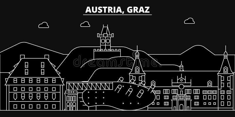 Ορίζοντας σκιαγραφιών του Γκραζ Διανυσματική πόλη της Αυστρίας - του Γκραζ, αυστριακή γραμμική αρχιτεκτονική, κτήρια Απεικόνιση τ απεικόνιση αποθεμάτων