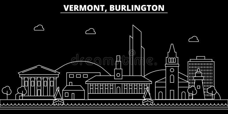 Ορίζοντας σκιαγραφιών του Μπέρλινγκτον ΗΠΑ - Διανυσματική πόλη του Μπέρλινγκτον, αμερικανική γραμμική αρχιτεκτονική, κτήρια Ταξίδ απεικόνιση αποθεμάτων