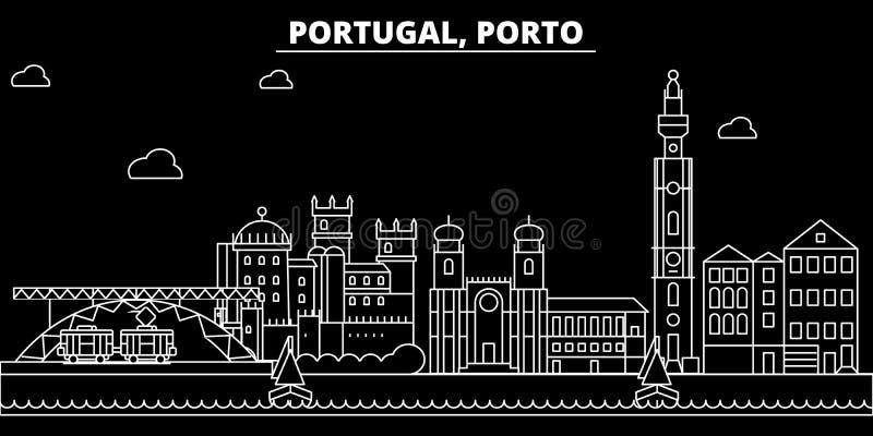 Ορίζοντας σκιαγραφιών του Πόρτο Διανυσματική πόλη της Πορτογαλίας - του Πόρτο, πορτογαλική γραμμική αρχιτεκτονική, κτήρια Ταξίδι  απεικόνιση αποθεμάτων