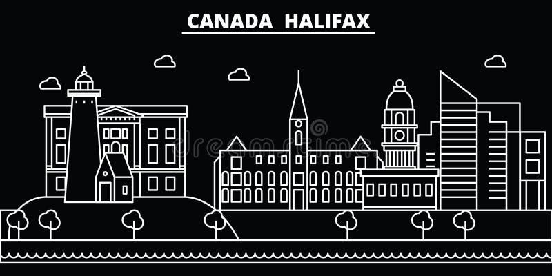 Ορίζοντας σκιαγραφιών του Χάλιφαξ Διανυσματική πόλη του Καναδά - του Χάλιφαξ, καναδική γραμμική αρχιτεκτονική, κτήρια Ταξίδι του  απεικόνιση αποθεμάτων